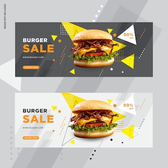 Design de banner de web de venda de hambúrguer