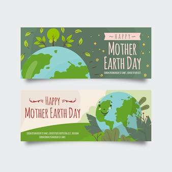 Design de banner dia da mãe terra desenhados à mão