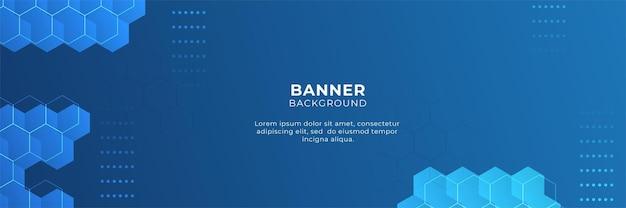 Design de banner digital de tecnologia azul com hexágono