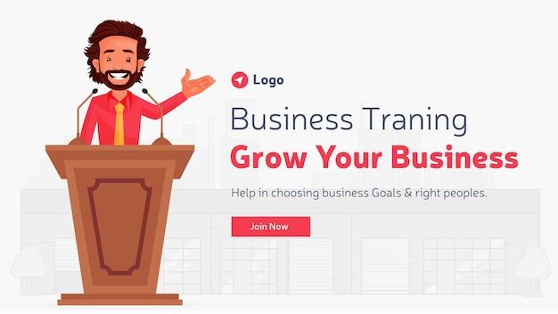 Design de banner do modelo de crescimento do seu negócio