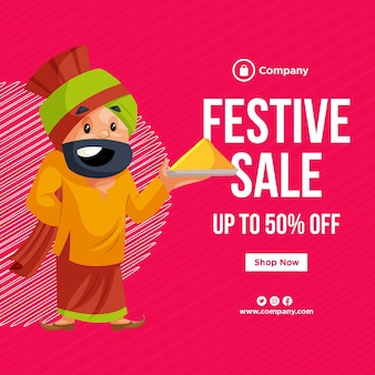 Design de banner do modelo de estilo de desenho animado de venda de festival