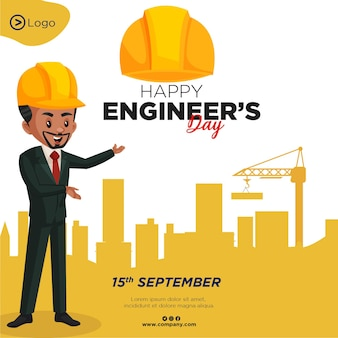 Design de banner do modelo de estilo de desenho animado feliz dia dos engenheiros