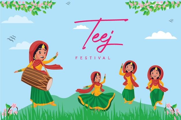 Design de banner do modelo de feliz haryali teej do festival indiano