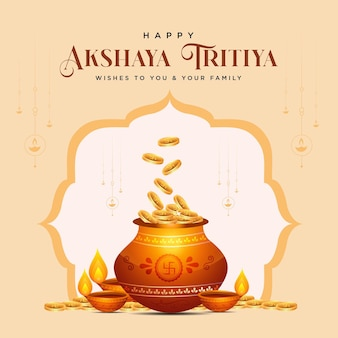 Design de banner do modelo do feliz festival akshaya tritiya
