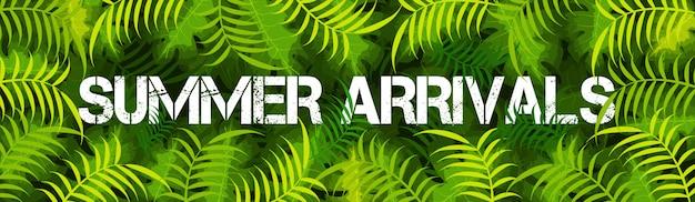 Design de banner do site com texto chegadas de verão