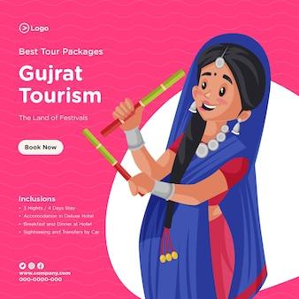 Design de banner dos melhores pacotes turísticos de turismo gujrat