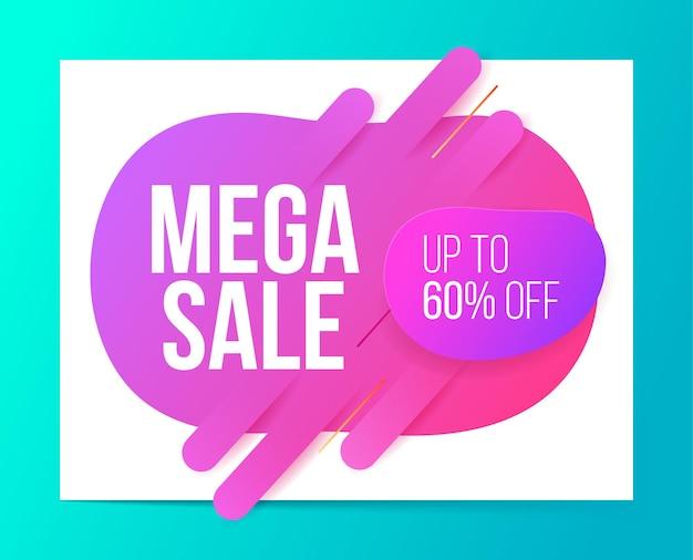 Design de banner em estilo moderno para mega venda, desconto e oferta especial