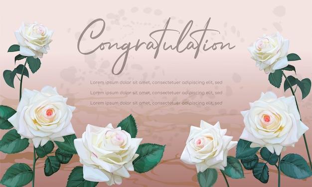 Design de banner floral rosas brancas para ilustração vetorial de textos