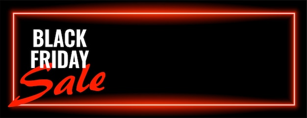 Design de banner largo de néon de venda de sexta feira negra