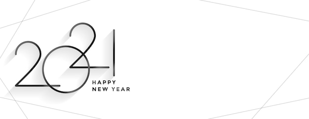 Design de banner limpo de estilo minimalista 2021 feliz ano novo