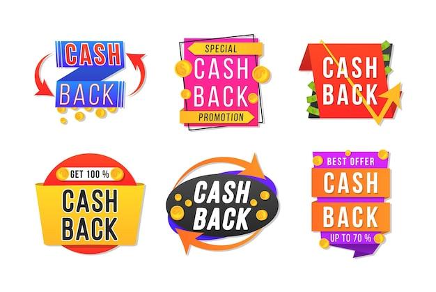 Design de banner moderno com um conjunto de cashback. crachás de reembolso de dinheiro