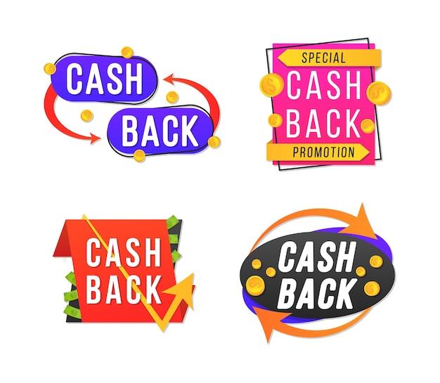 Design de banner moderno com um conjunto de etiquetas de cashback. crachás de reembolso de dinheiro, transações em dinheiro de volta e moedas de retorno de compras e etiquetas de pagamento para promoção, venda, descontos.