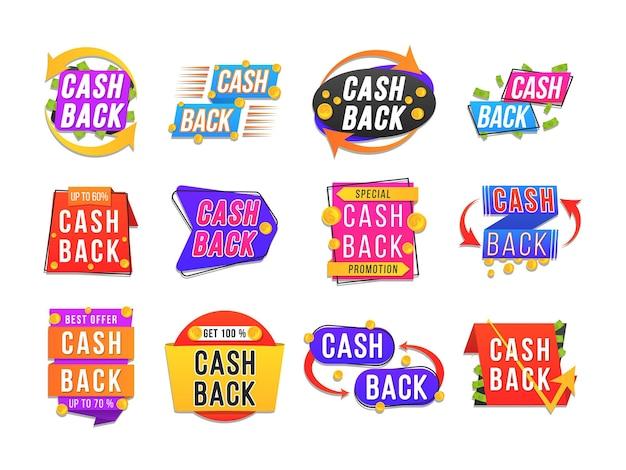 Design de banner moderno com um conjunto de etiquetas de cashback. crachás de reembolso de dinheiro
