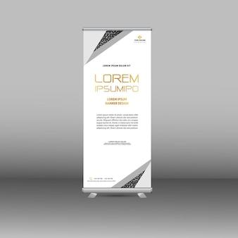 Design de banner moderno de luxo branco enrolado