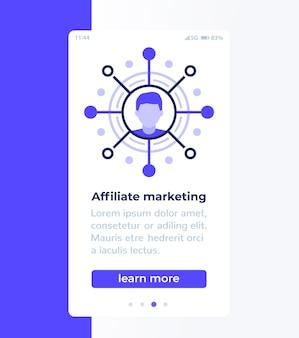 Design de banner móvel de marketing de afiliados