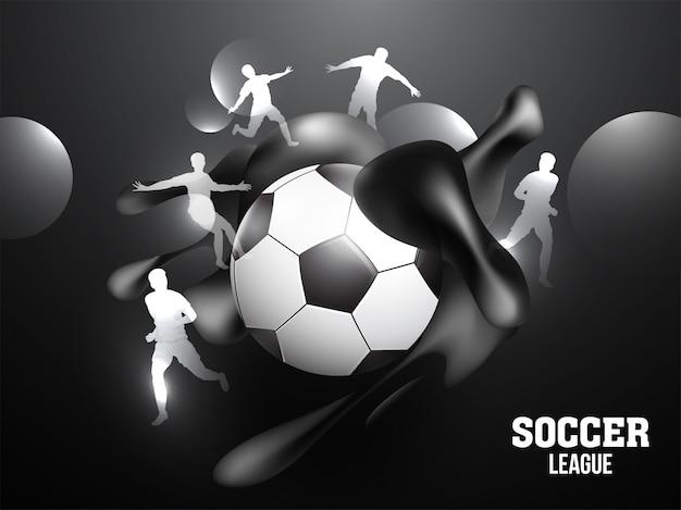 Design de banner ou cartaz de campeonato de futebol com bola de futebol