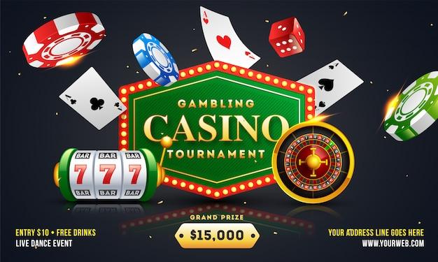 Design de banner ou cartaz de torneio de casino de jogo