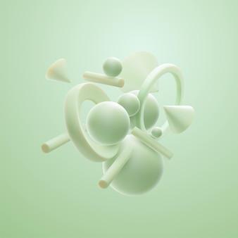 Design de banner ou sinal com nuvem de aglomerados de formas geométricas verdes pastel de hortelã 3d