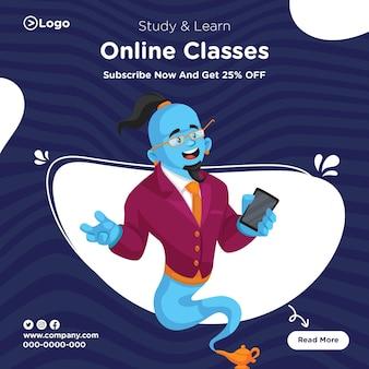 Design de banner para estudar e aprender com o modelo de aulas online
