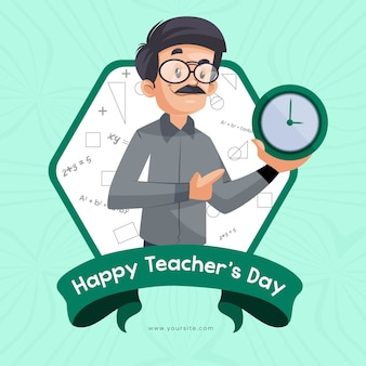 Design de banner para feliz dia do professor com o professor segurando, mostrando o relógio