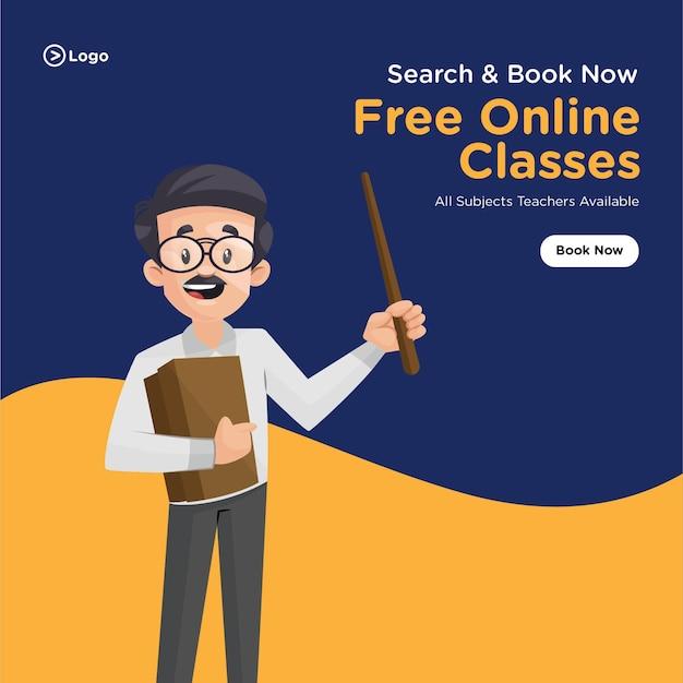 Design de banner para pesquisar e reservar aulas online gratuitas com o professor