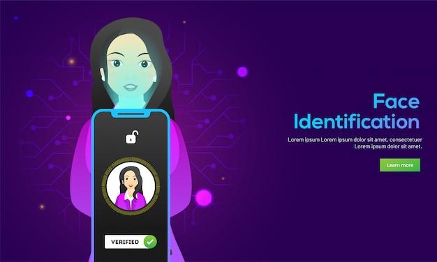 Design de banner responsivo de página da web com ilustração de mulher