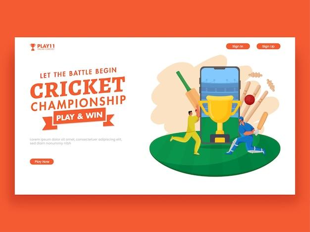 Design de banner responsivo do campeonato de críquete com o personagem de jogadores e a copa do troféu em smartphone.
