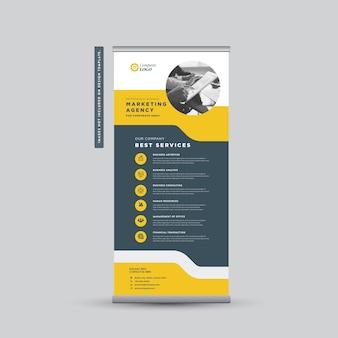 Design de banner rollup de negócios corporativos