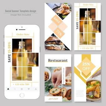 Design de banner social de comida para restaurante