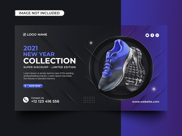 Design de banner web para coleção de sapatos de ano novo