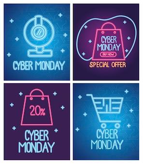 Design de banners azuis e roxos com inscrições de néon da cyber monday