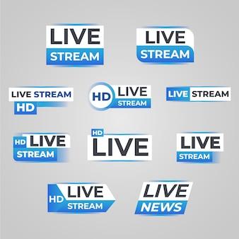 Design de banners de notícias de transmissões ao vivo