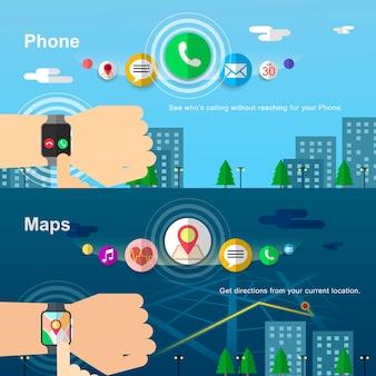 Design de banners de smartwatches em estilo simples