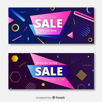 Design de banners de venda especial de memphis