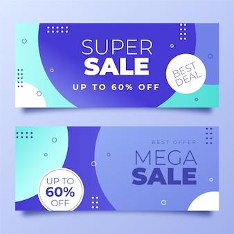 Design de banners de venda horizontais gradientes