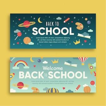 Design de banners de volta às aulas