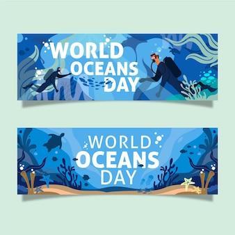 Design de banners do dia mundial dos oceanos