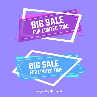 Design de banners geométricos para ofertas e descontos