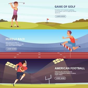 Design de banners horizontais com povos do esporte em poses de ação