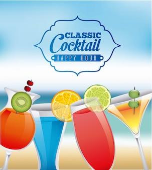Design de bebidas sobre ilustração em vetor fundo borrão