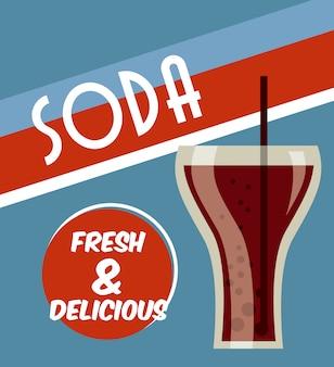 Design de bebidas sobre ilustração vetorial de fundo azul