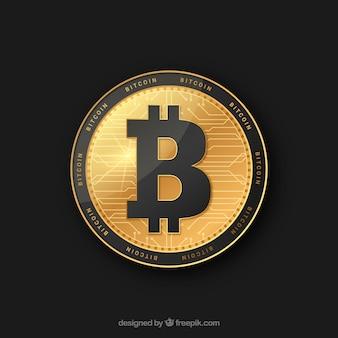 Design de bitcoin dourado e preto