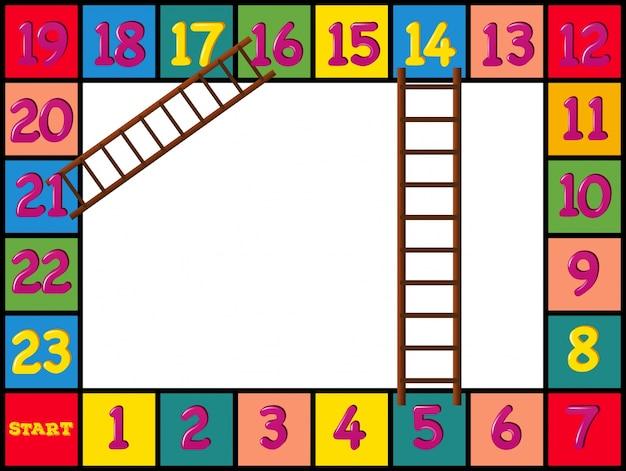 Design de boardgame com blocos e escadas coloridas