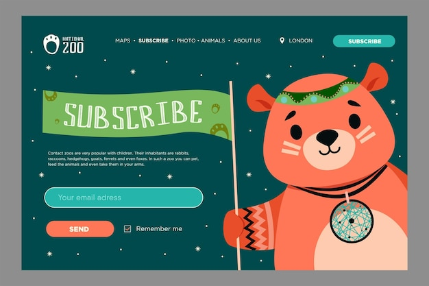 Design de boletim informativo com desenho animado animal selvagem. urso fofo com enfeites no estilo boho