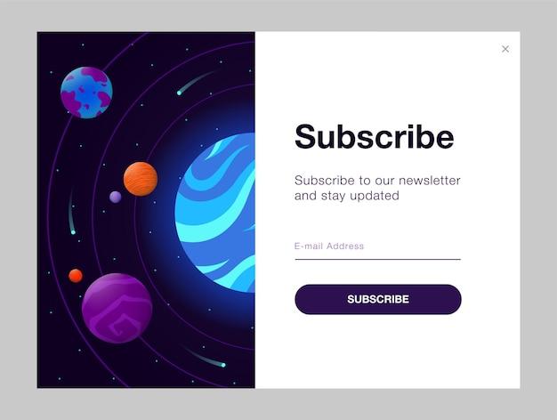Design de boletim informativo com espaço aberto