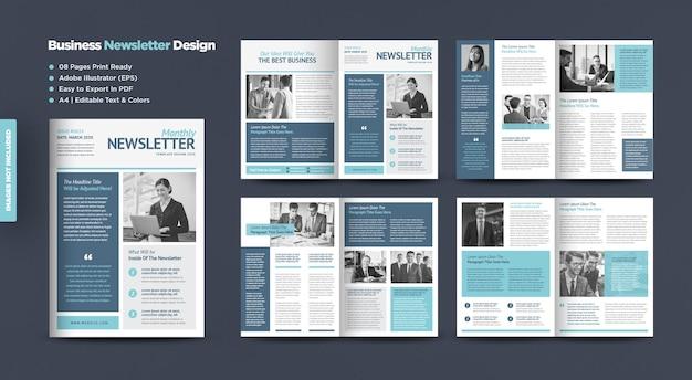Design de boletim informativo de negócios ou design de jornal ou design de relatório mensal ou anual