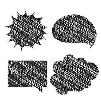 Design de bolha de bate-papo de quatro mão de rabisco