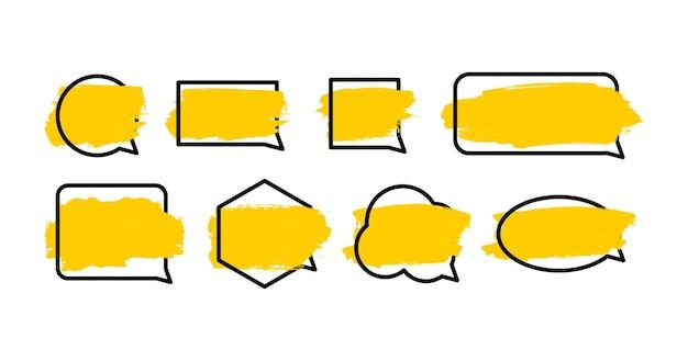 Design de bolha de discurso em branco definido com moldura de linha preta de pincelada amarela elemento de conversa de bate-papo de mensagem