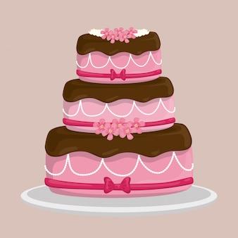 Design de bolo de sobremesa.