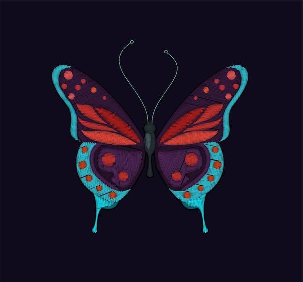 Design de borboleta bordada para bordados, manchas e adesivos